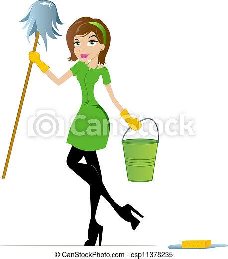 Vectores de casa, guardián - limpieza, mujer, trapeador, cubo ...