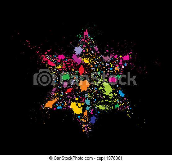 Grunge stylized colorful David Star - holiday vector illustration - csp11378361