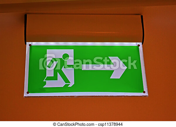 abstract green exit sign, security details