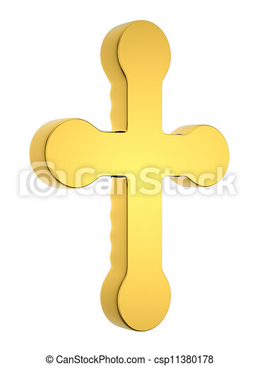 Jewelery and religion: golden cross isolated - csp11380178
