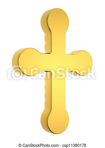 Jewelery and religion: golden cross isolated  - csp11380178