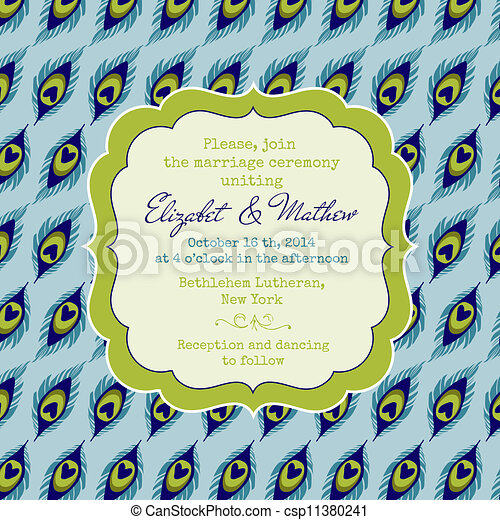 Wedding Vintage Invitation Card - Peacock Theme - in vector - csp11380241