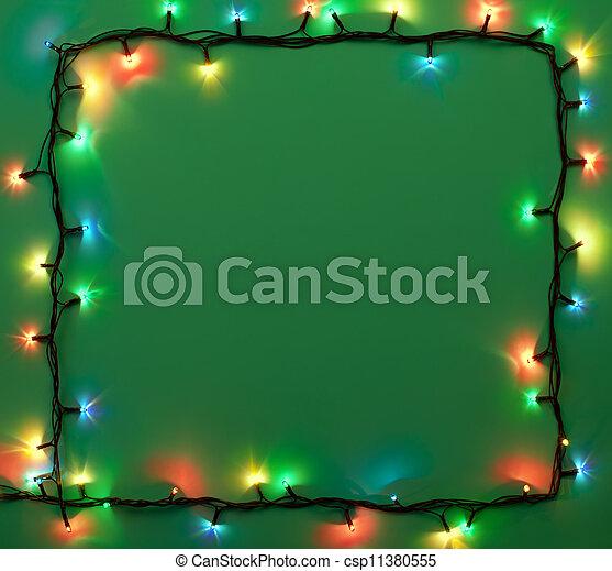Christmas lights frame  - csp11380555