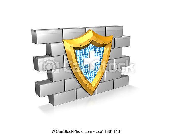 blue code computer security shield - csp11381143