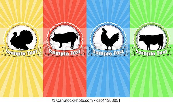 Farm animals food labels - csp11383051
