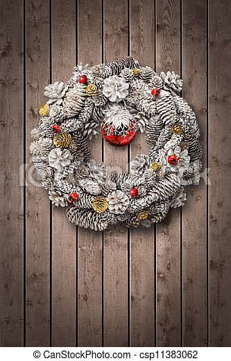 Stock Image of White Christmas wreath on wooden door ...