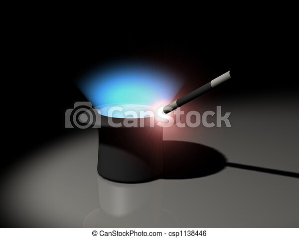 Glowing magic wand and hat - csp1138446