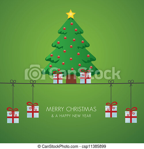 christmas tree gift boxes hanging o - csp11385899