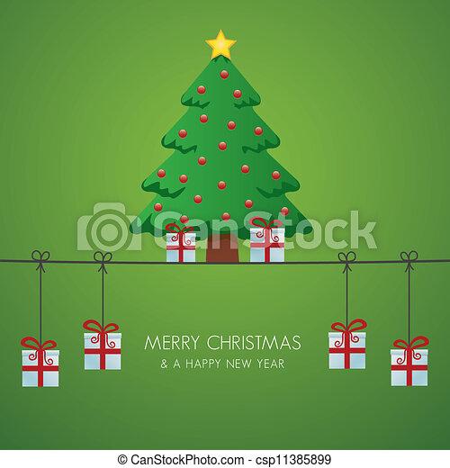 christmas tree gift boxes hanging o - csp11385899