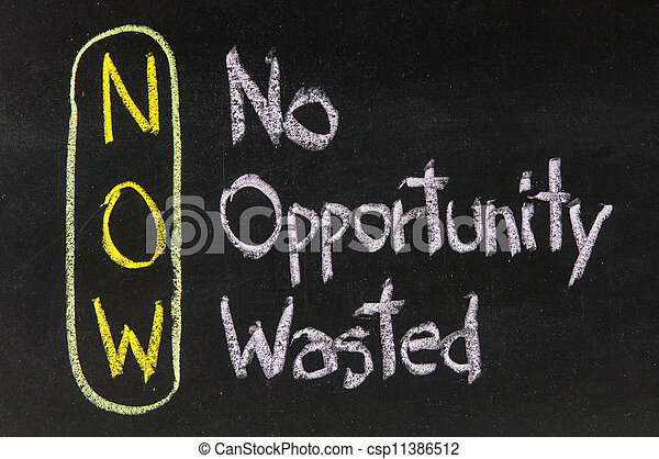 Acronym of NOW for No Opportunity Wasted - csp11386512