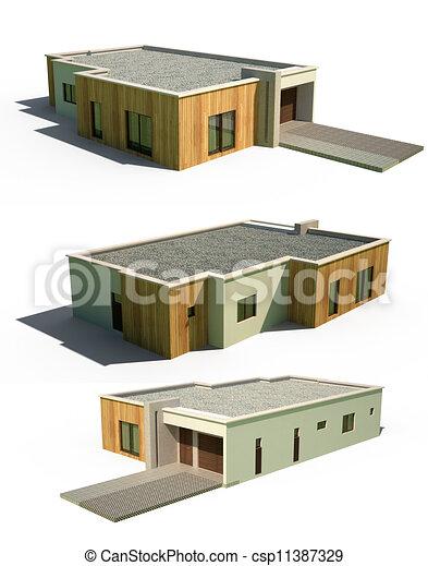 clip art von fassade haus modern 3d 3d render von. Black Bedroom Furniture Sets. Home Design Ideas