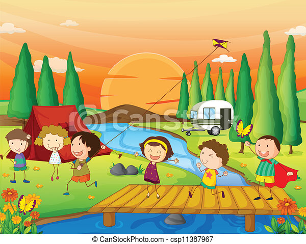 A River, A Bench And Kids - Royalty Free Vector Clipart ...