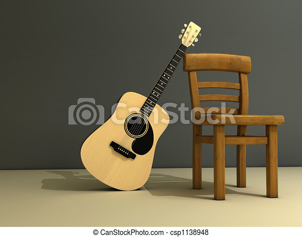 Chair and guitar - csp1138948