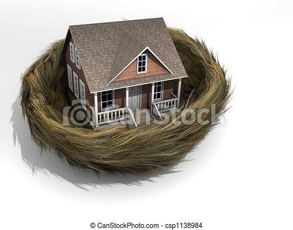 Drawing of House in nest - Conceptual house in a bird nest - rendered ...
