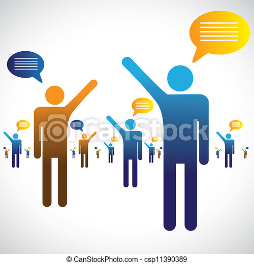 Many people talking, speaking or chatting graphic. The illustration shows many people symbols with chat icons speaking with one an other - csp11390389