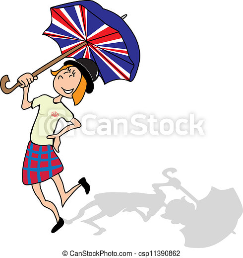 Clip Art Vector of So British - English girl is dancing with a british ...