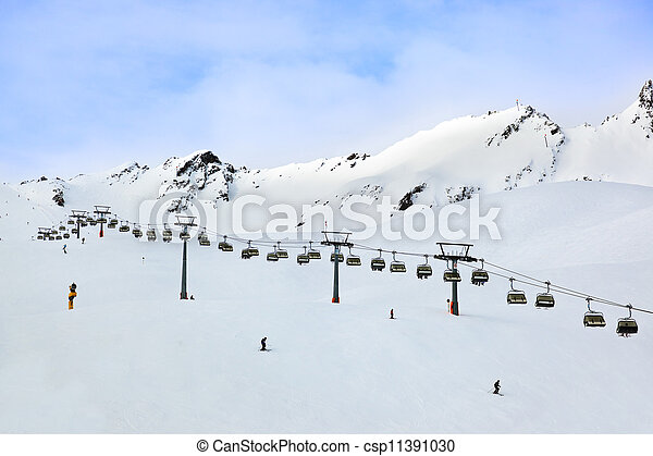 Mountains ski resort Solden Austria - csp11391030
