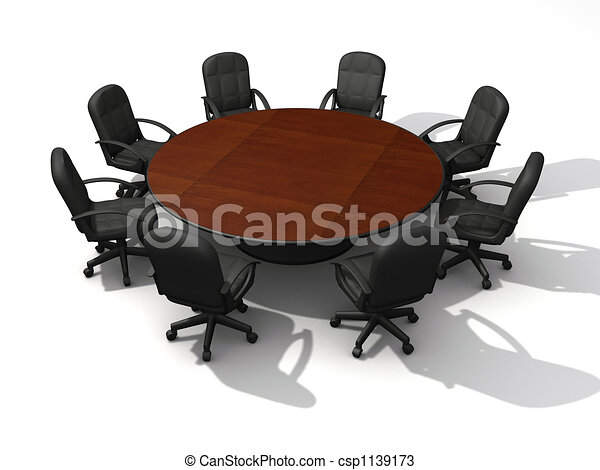 Drawings of Conference table Office chairs and round table 3d