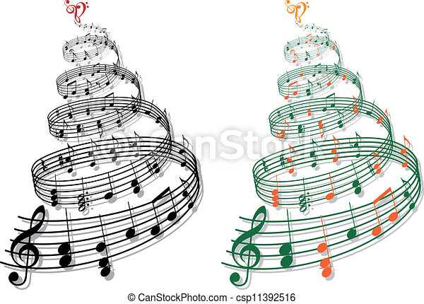 tree with music notes, vector - csp11392516