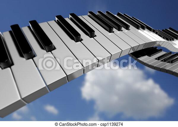 鋼琴, 天空, 鑰匙 - csp1139274