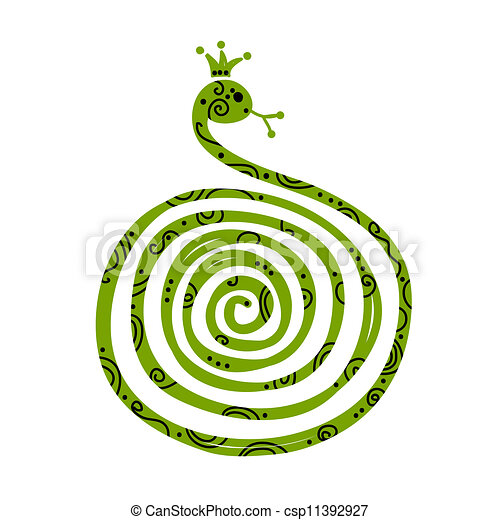Snake silhouette design, symbol of chinese new year 2013 - csp11392927