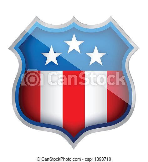 Vector Clip Art of US patriotic security shield illustration ...