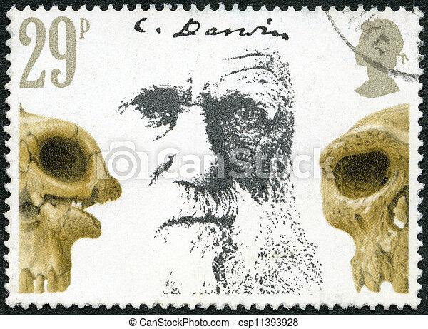 GREAT BRITAIN - CIRCA 1982: A stamp printed in Great Britain shows Charles Darwin and Skulls, Death Centenary of Charles Darwin (1809-1882), circa 1982 - csp11393928