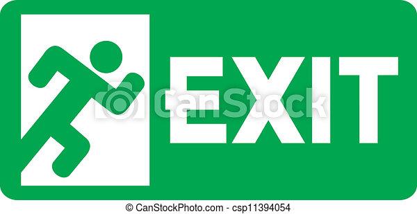 Clipart Vector of green exit emergency sign (emergency exit door ...
