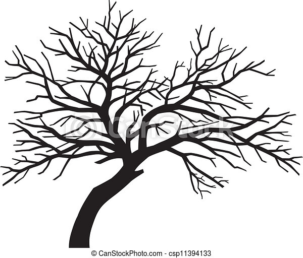 scary bare black tree silhouette - csp11394133