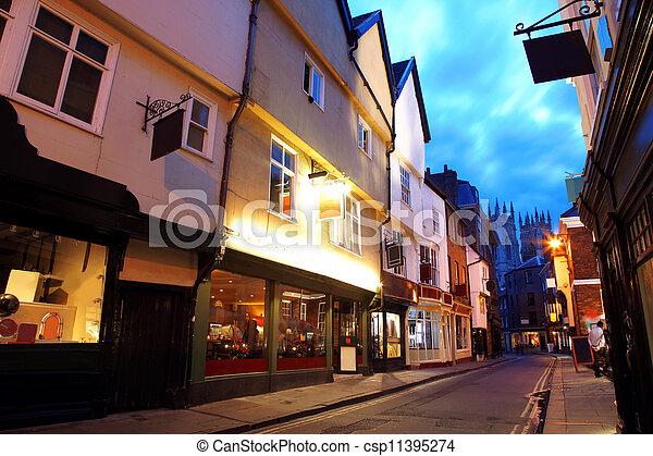 Evening street in York, UK