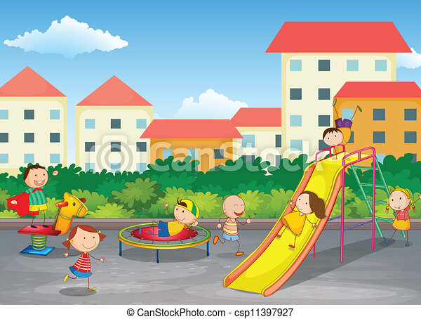 Kids Park Drawing Vector Kids Playing Outdoor