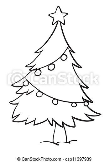 Vector - christmas tree outline - stock illustration, royalty free ...