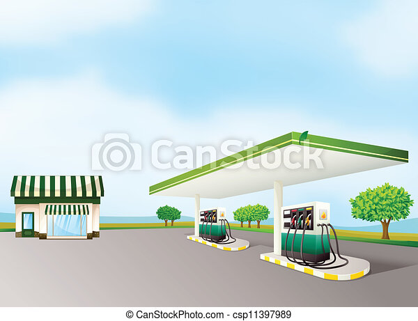 a house and a gas station - csp11397989