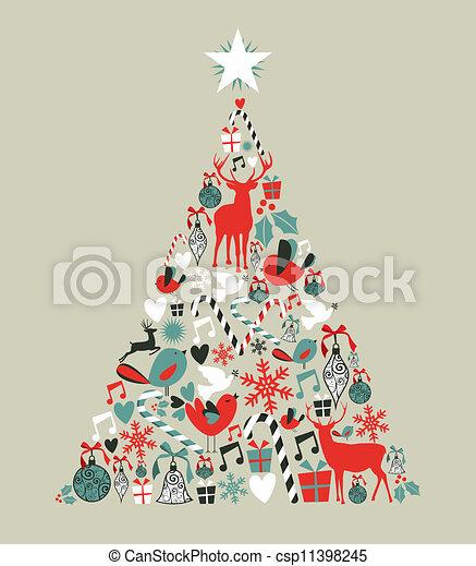 Christmas icons pine tree - csp11398245