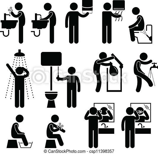 Clip arte vetor de pessoal banheiro higiene um jogo - Enseigne salle de bain ...