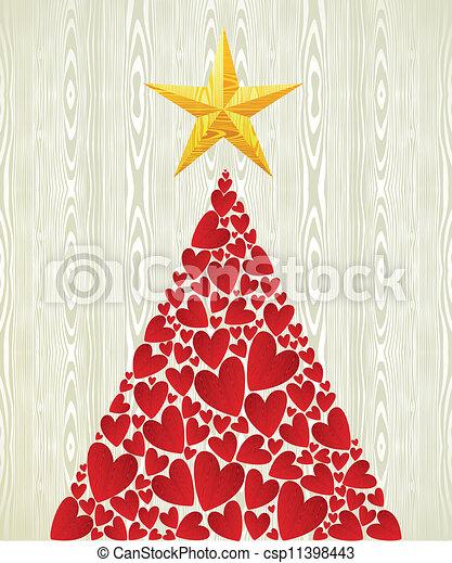 Christmas love heart pine tree - csp11398443