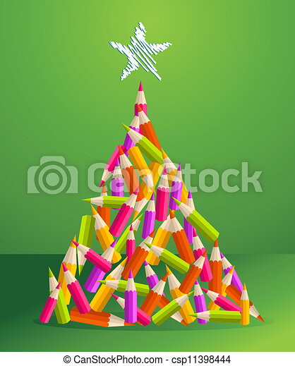 Design and art pencils Christmas tree - csp11398444