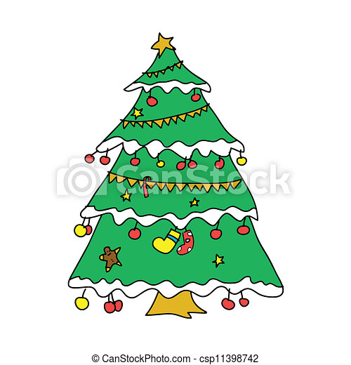 Christmas tree hand sketch - csp11398742