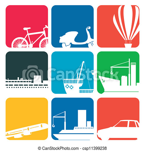 transportation icons colore - csp11399238