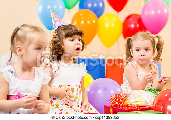 funny children on birthday party - csp11399852