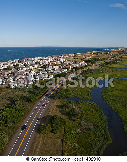 Aerial view of Massachusetts coast - csp11402910