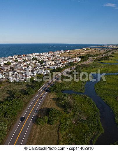 Aerial view of Massachusetts coast - csp11402910