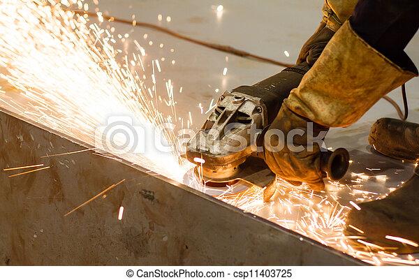 Worker cutting metal