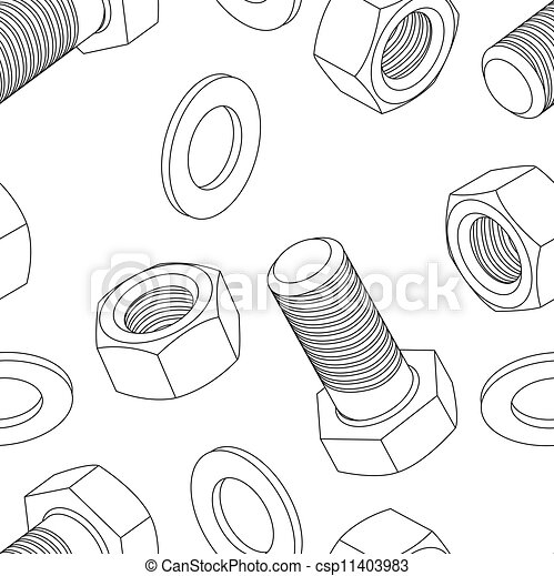Stainless steel bolt and nut seamless wallpaper - csp11403983