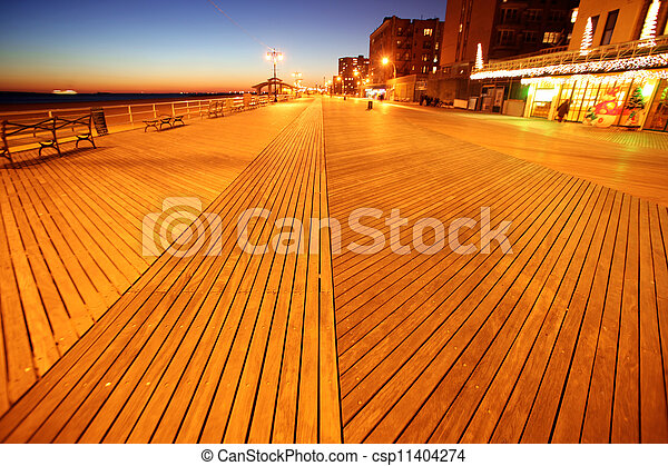 Classic NY - evening in Brighton Beach of Coney Island, USA