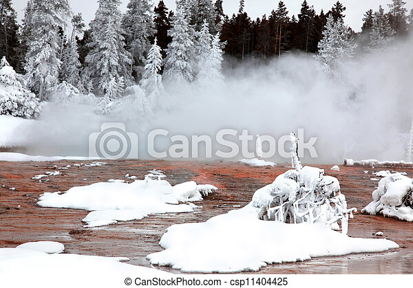 winter season in Yellowstone National Park, USA - csp11404425