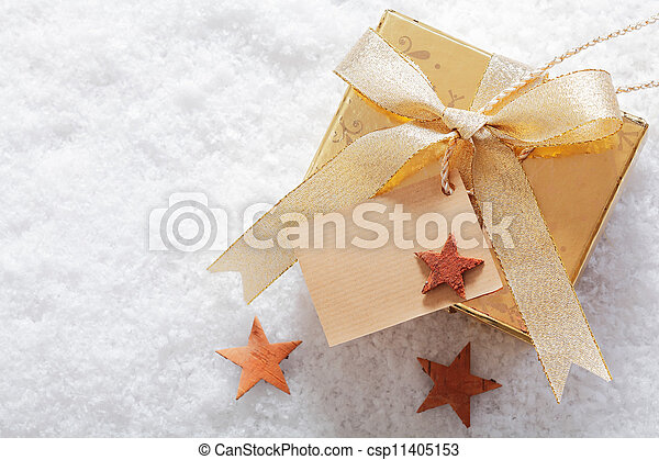 Christmas gift in winter snow - csp11405153