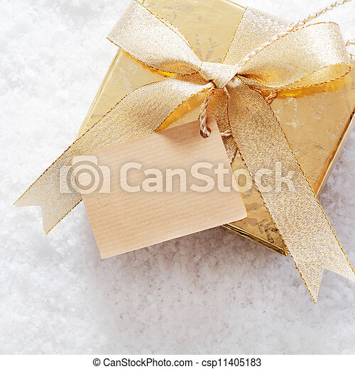 Gold Christmas giftbox with label
