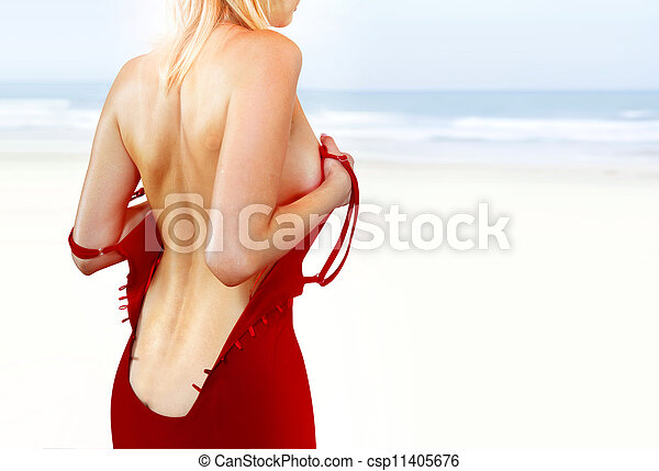 back of woman on shore l - csp11405676