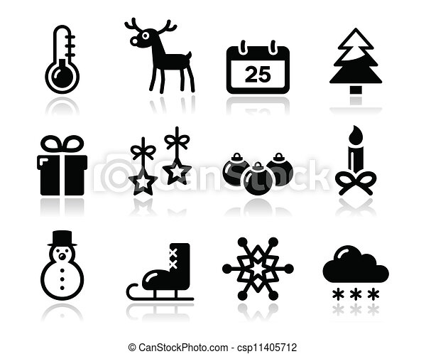 Christmas winter black icons set - csp11405712